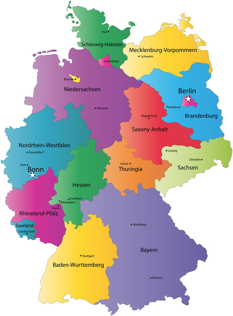 German States and State Capitals Map - States of Germany