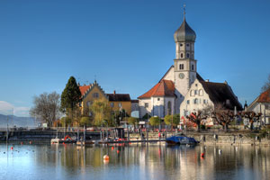 Wasserburg, Bavaria is a small village on the Bodensee shoreline